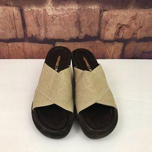 Donald J Pliner Reyna Tan Linen Wedge Sandals 8.5